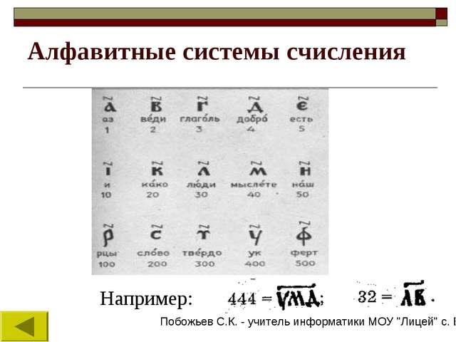 Алфавитные системы счисления Например: Побожьев С.К. - учитель информатики МО...