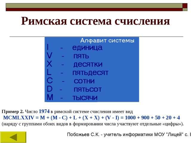 Римская система счисления Пример 2. Число 1974 в римской системе счисления им...