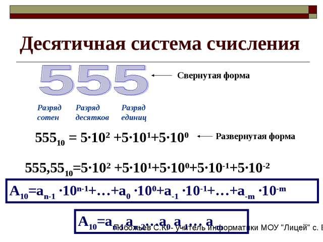 Десятичная система счисления Свернутая форма Разряд сотен Разряд десятков Раз...