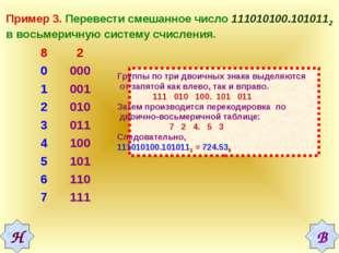 Пример 3. Перевести смешанное число 111010100.1010112 в восьмеричную систему