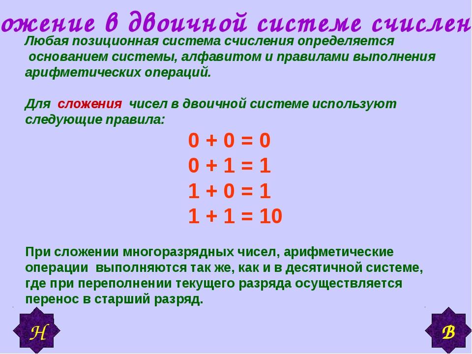 Сложение в двоичной системе счисления Любая позиционная система счисления опр...