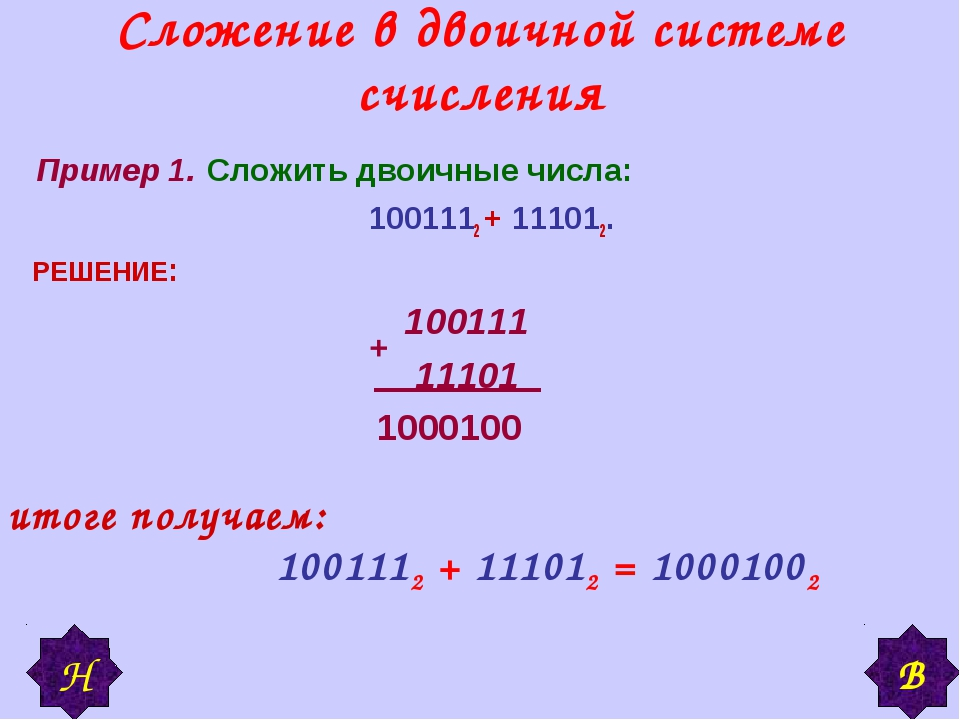 Сложение в двоичной системе счисления Пример 1. Сложить двоичные числа: 10011...
