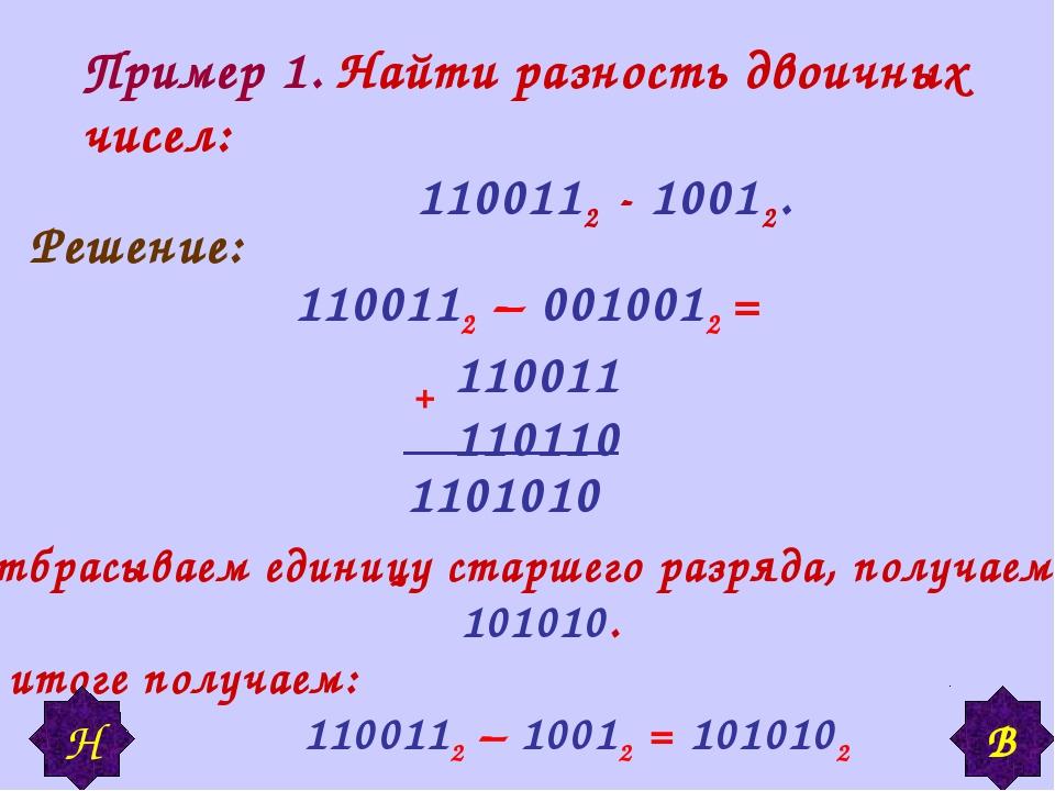 Пример 1. Найти разность двоичных чисел: 1100112 - 10012. Решение: 1100112 –...