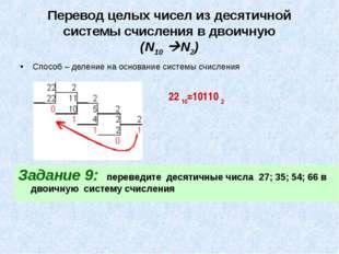Перевод целых чисел из десятичной системы счисления в двоичную (N10 N2) Спос