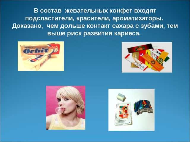 В состав жевательных конфет входят подсластители, красители, ароматизаторы....