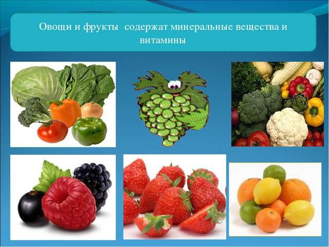 Овощи и фрукты содержат минеральные вещества и витамины
