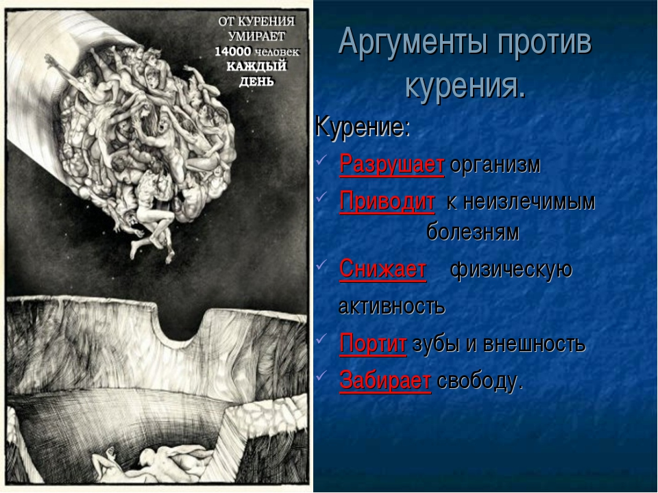 Аргументы против курения. Курение: Разрушает организм Приводит к неизлечимым...