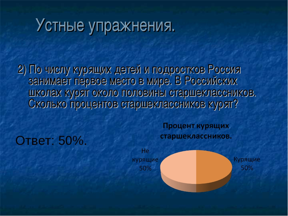 Устные упражнения. 2) По числу курящих детей и подростков Россия занимает пер...