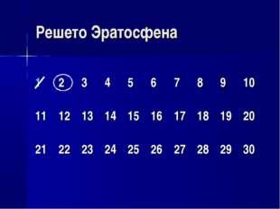 Решето Эратосфена 12345678910 11121314151617181920 212223