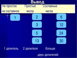 Вывод 1 3 24 5 30 2 13 12 6 1 делитель 2 делителя больше двух делителей Ни пр