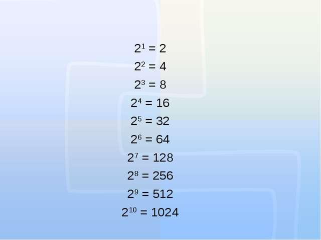 21 = 2 22 = 4 23 = 8 24 = 16 25 = 32 26 = 64 27 = 128 28 = 256 29 = 512 210 =...