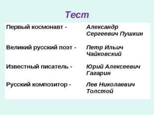 Тест Первый космонавт -Александр Сергеевич Пушкин Великий русский поэт -Пет