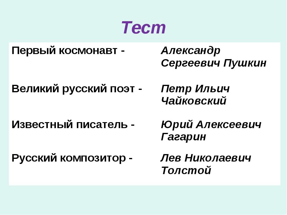 Тест Первый космонавт -Александр Сергеевич Пушкин Великий русский поэт -Пет...