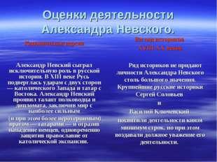 Оценки деятельности Александра Невского. Каноническая версия Александр Невски
