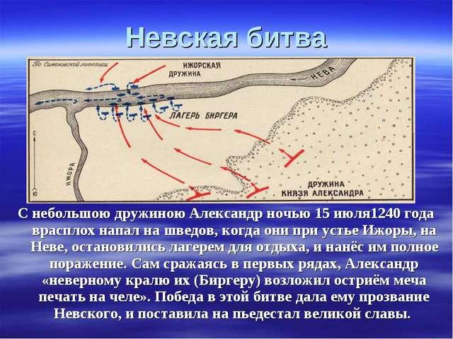 Невская битва С небольшою дружиною Александр ночью 15 июля1240 года врасплох...