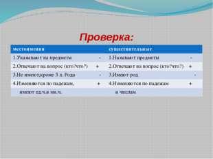Проверка: местоимения существительные 1.Указывают на предметы - 1.Называют пр