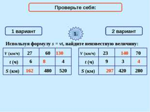 1 вариант 2 вариант Используя формулу s = vt, найдите неизвестную величину: 1