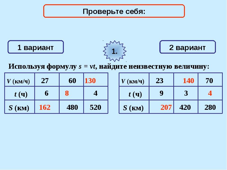 1 вариант 2 вариант Используя формулу s = vt, найдите неизвестную величину: 1...