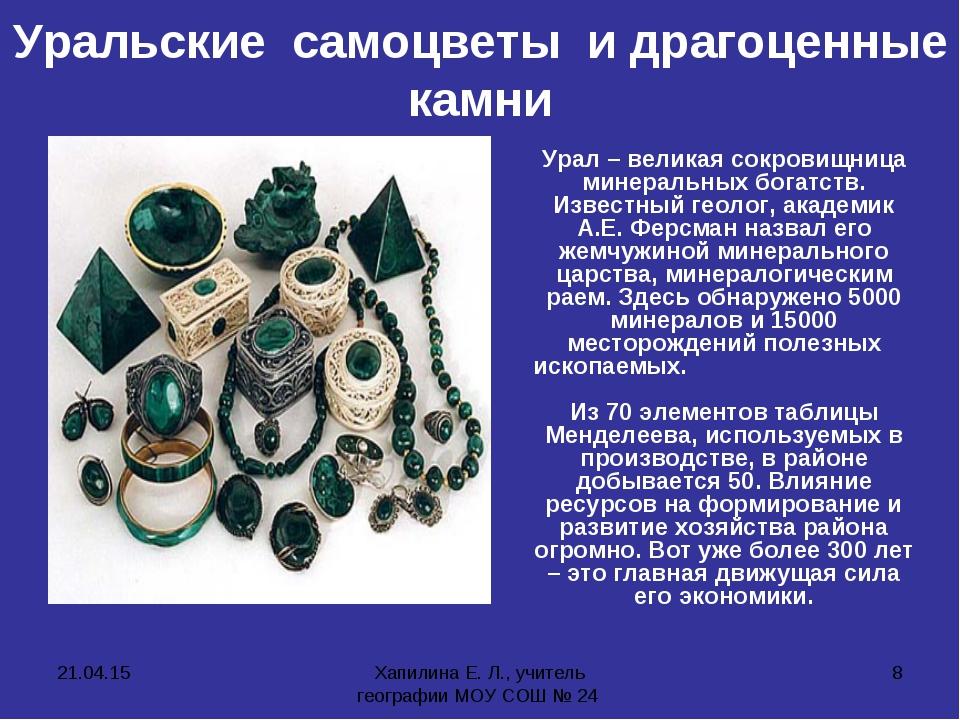 * Хапилина Е. Л., учитель географии МОУ СОШ № 24 * Уральские самоцветы и драг...