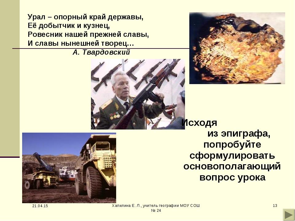 * Хапилина Е. Л., учитель географии МОУ СОШ № 24 * Урал – опорный край держав...