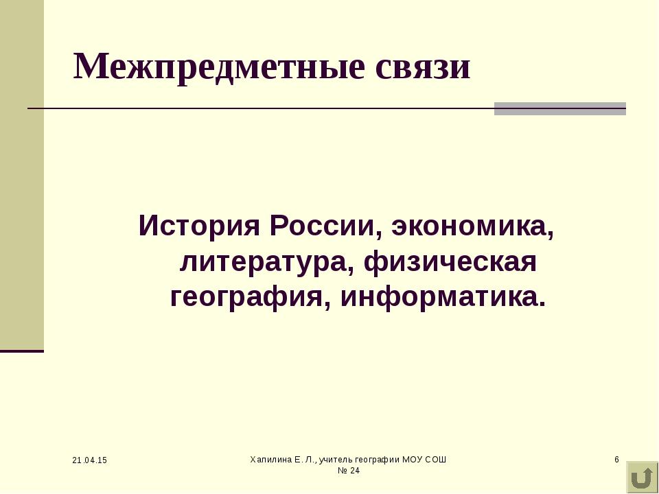 * Хапилина Е. Л., учитель географии МОУ СОШ № 24 * Межпредметные связи Истори...