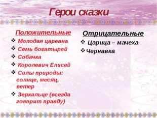 Герои сказки Положительные Молодая царевна Семь богатырей Собачка Королевич Е