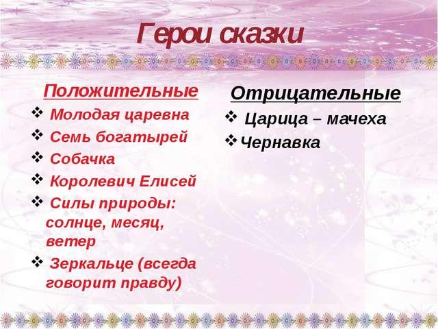 Герои сказки Положительные Молодая царевна Семь богатырей Собачка Королевич Е...