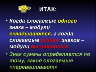 Соловьева Н.Л. МОУ СОШ №47, г.Калининград ИТАК: Когда слогаемые одного знака