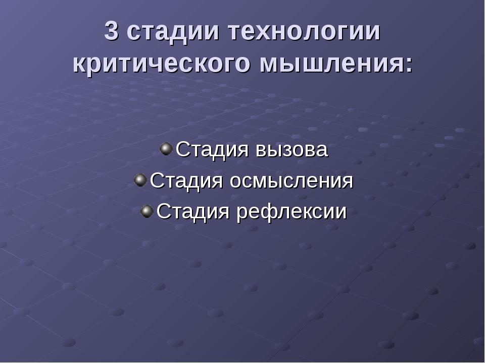 3 стадии технологии критического мышления: Стадия вызова Стадия осмысления Ст...