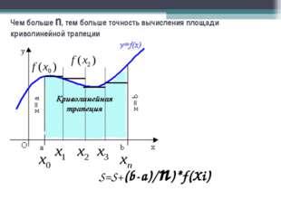 S=S+(b-a)/n)*f(Xi) Чем больше n, тем больше точность вычисления площади криво