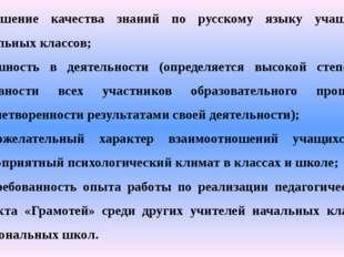 повышение качества знаний по русскому языку учащихся начальных классов; успеш