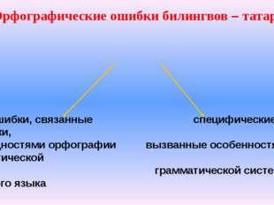 Орфографические ошибки билингвов – татар ошибки, связанные специфические оши