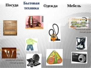 Посуда Бытовая техника Одежда Мебель