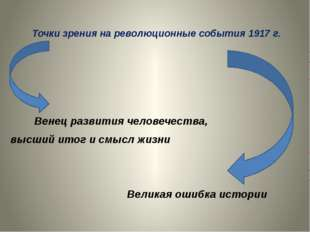 Точки зрения на революционные события 1917 г.  Венец развития человечества,