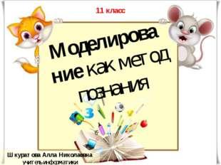 Шкуратова Алла Николаевна учитель информатики Моделирование как метод познани