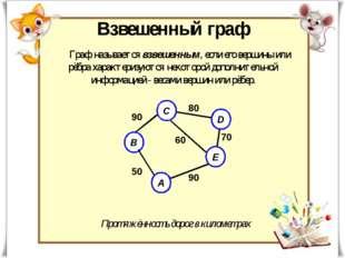 Граф называется взвешенным, если его вершины или рёбра характеризуются некото