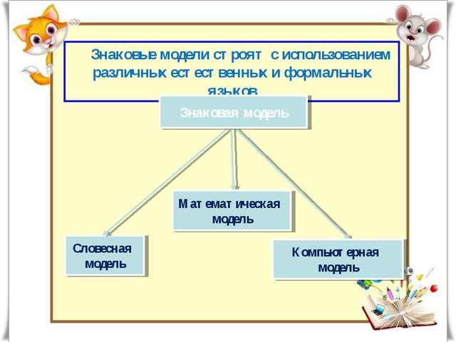 Словесная модель Математическая модель Знаковые модели строят с использование...