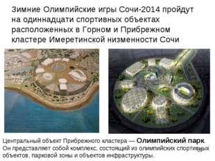 Центральный объект Прибрежного кластера — Олимпийский парк. Он представляет с