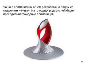 Чаша с олимпийским огнем расположена рядом со стадионом «Фишт». На площади ря