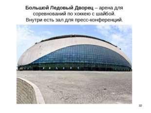 Большой Ледовый Дворец – арена для соревнований по хоккею с шайбой. Внутри ес