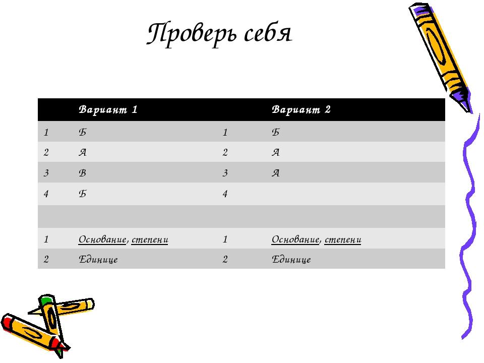 Проверь себя Вариант 1 Вариант 2 1 Б 1 Б 2 А 2 А 3 В 3 А 4 Б 4 1 Основание,ст...
