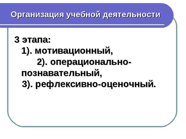 Организация учебной деятельности 3 этапа: 1). мотивационный, 2). операциональ...
