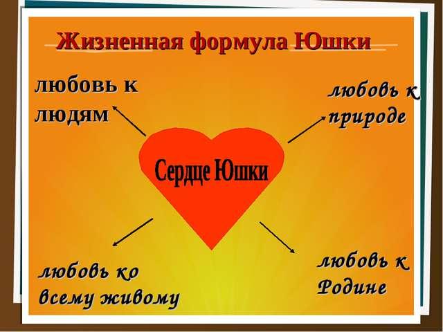 Жизненная формула Юшки любовь к природе любовь к Родине любовь к людям любов...