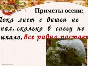 Приметы осени: Пока лист с вишен не опал, сколько б снегу не выпало, все равн
