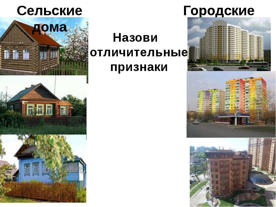 Сельские дома Городские дома Назови отличительные признаки