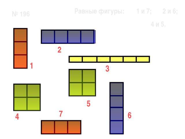 № 196 1 7 6 5 3 2 4 Равные фигуры: 1 и 7; 2 и 6; 4 и 5.