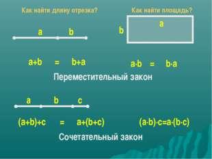 а b a+b b+a = а b a∙b b∙a = Переместительный закон а с b (a+b)+с a+(b+с) = (а