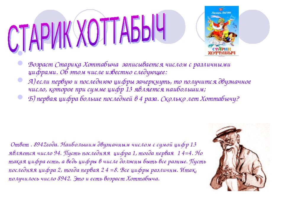 Возраст Старика Хоттабыча записывается числом с различными цифрами. Об этом...