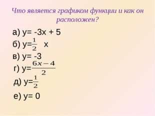 Что является графиком функции и как он расположен? а) y= -3x + 5 б) y= x в) y