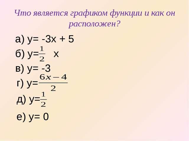 Что является графиком функции и как он расположен? а) y= -3x + 5 б) y= x в) y...